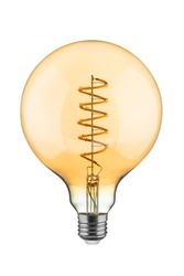 Energy saving LED filament bulb isolated on white. Clipping path.