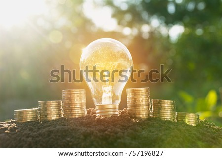 Energy saving light bulb and tree growing on stacks of coins on nature background.