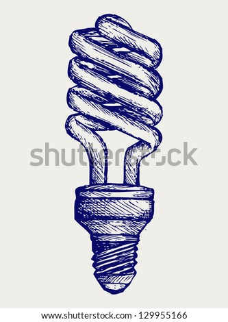 Energy saving light bulb. Doodle style. Raster version