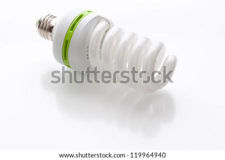 Energy saving light bulb on a white background
