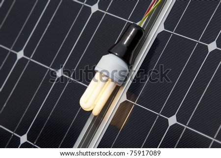 Energy saving light bulb on the solar panel
