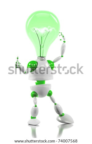 energy saving robot having a good idea concept /3d robot with light bulb for its head