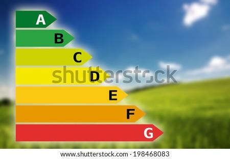 Energy savings chart with beautiful landscape