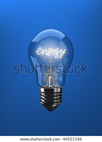 Energy word in the form of a filament in a light bulb.