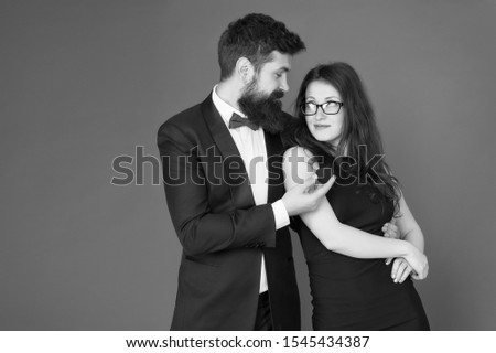 Engagement concept. Couple in love celebrate anniversary. Proposal engagement. Romantic gift box jewelry engagement. Marriage proposal. Handsome man and elegant woman in love. Romantic engagement. #1545434387