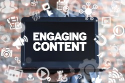 Engaging Content. Content marketing success, marketing mix, social media sharing concept. Businessman offers laptop with engaging content text icon on a virtual interface.