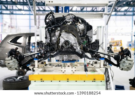 Engine after sub assembliy before send to body of the car for assemblies in car factory.