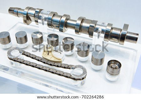 Engine components: camshaft, hydraulic valve tappet and timing chain Сток-фото ©