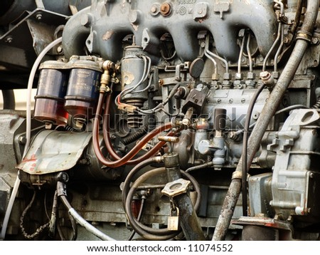 Engine details. Diesel engine. Motor truck