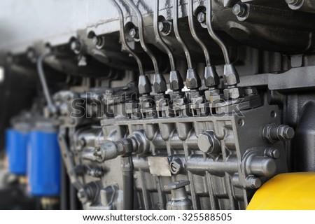Engine details in perspective. Diesel engine. Motor truck background