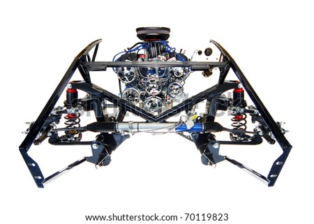 Engine Mounted in Frame with Shock/Spring Assembly of Car Kit