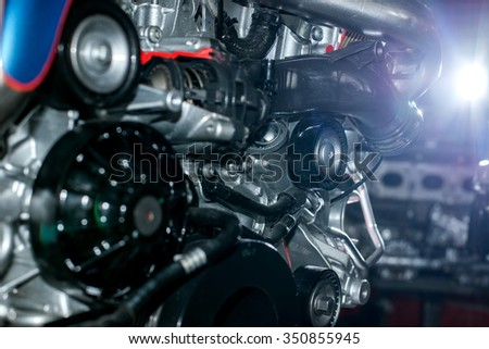 Engine of a vehicle stock photo