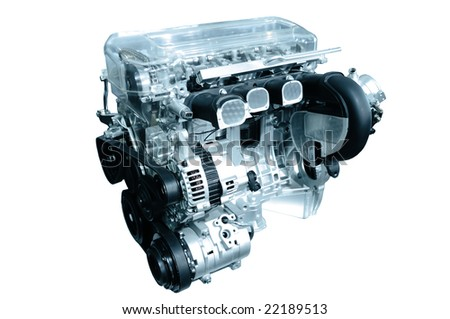 engine of modern car isolated white
