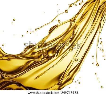 engine oil splashing isolated on white background