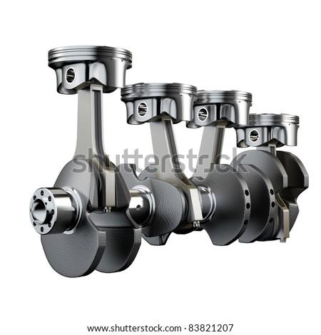 Engine pistons connecting rod crankshaft flywheel