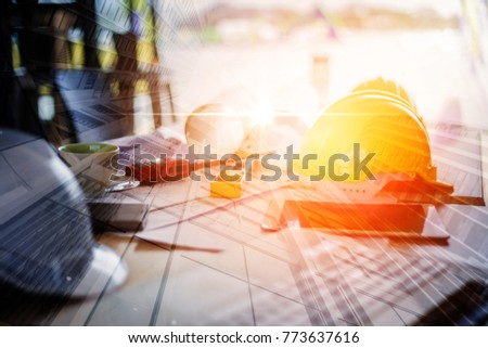engineer background concept with yellow helmet with light filter effect  #773637616