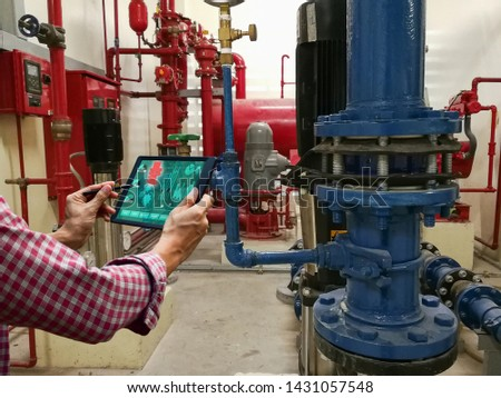 Engineer check the device mechanical industry system tablet technology #1431057548