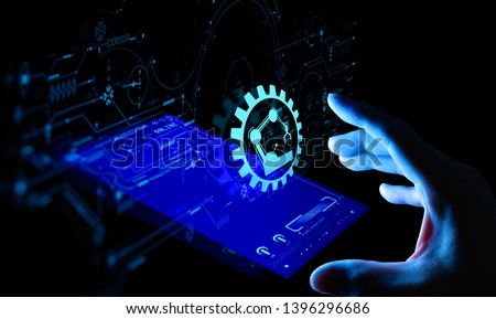 Engineer hand check and control welding robotics automatic arms icon with machine in intelligent factory automotive industrial with UI monitoring system software.