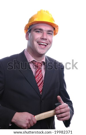 engineer holding a hammer, isolated on white