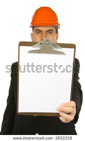 engineer holding clipboard isolated on a white background