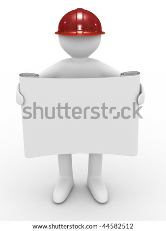 engineer in helmet on white background. Isolated 3D image