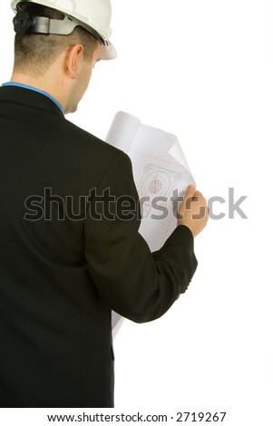 engineer inspecting a drawing isolated on a white background
