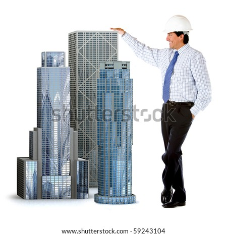 Engineer leaning on buildings - isolated over a white background