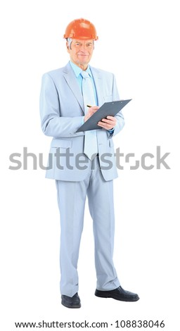 Engineer of age, with a plan reports. Isolated on a white background.