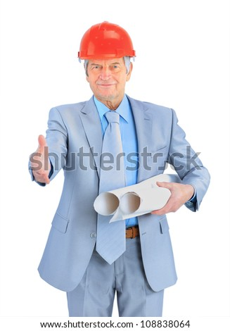 Engineer of age, with the drawings. Isolated on a white background.