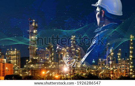 engineer oil gas energy plant industry night light background, power energy and sustainable resource environment technology