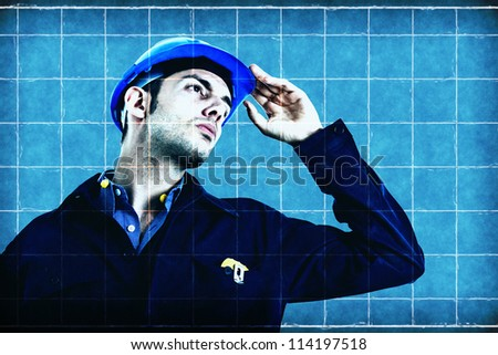 Engineer on a blueprint