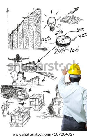 Engineer on point with sketch logistic idea with white background