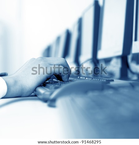 Engineer operate a computer hands