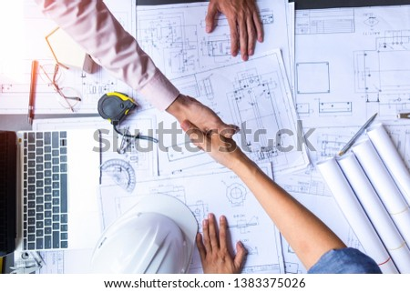 engineer people shaking hands in office, engineering concept, architecture concept, teamwork concept