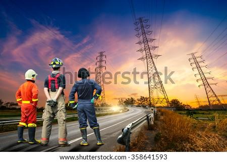 Engineer safety survey of the electricity pylon on sunrise time