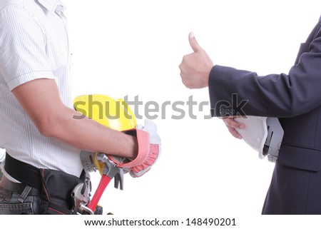 Engineer show hand for give like to worker with white background