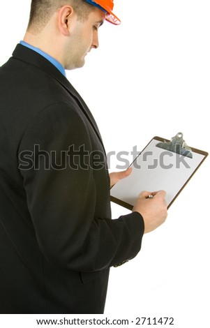 engineer taking notes isolated on a white background