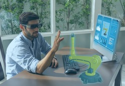 engineer use augmented mixed virtual reality integrate artificial intelligence combine deep, machine learning, digital twin, 5G, industry 4.0 technology to improve management efficiency quality
