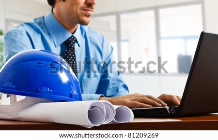 Engineer using his laptop