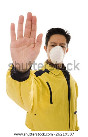 Engineer with yellow workwear and mask doing the stop gesture (focus on the hand)