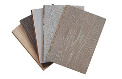 engineered hardwood or laminate flooring swatch samples in various type of wood texture, isolated on white background with clipping path. interior wooden flooring  swatch use for material board.