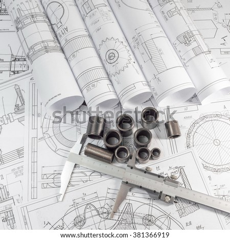 Engineering and engineering technology. Engineering drawing, measuring instrument - Vernier caliper and parts are steel sleeves. The set of elements reflecting the concept of engineering and design.