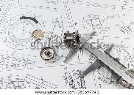 Engineering and technology. Engineering drawing, Measuring instrument - Vernier caliper and parts are steel sleeves. The set of elements reflecting the concept of engineering. Or technical progress.