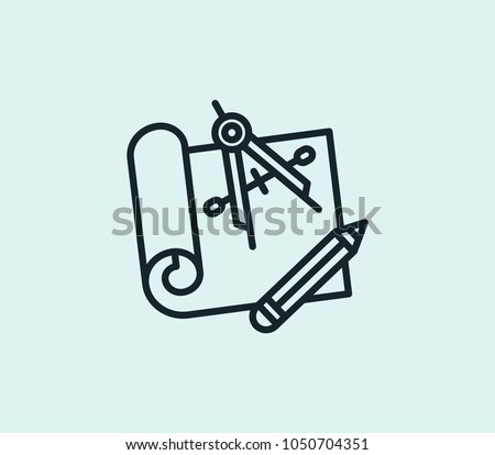 Engineering blueprint icon line isolated on clean background. Engineering blueprint icon concept drawing icon line in modern style.  illustration for your web site mobile logo app UI design.