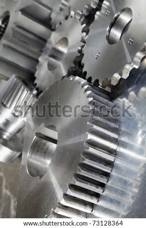 engineering concept of machine parts, slight blue toning idea