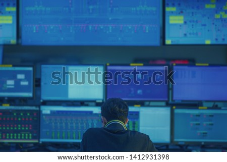 Engineering control room monitor and checking process. #1412931398