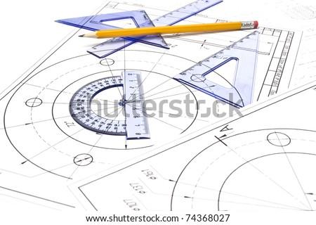 Engineering drawing equipment Engineering drawing equipment Engineering drawing equipment - stock photo