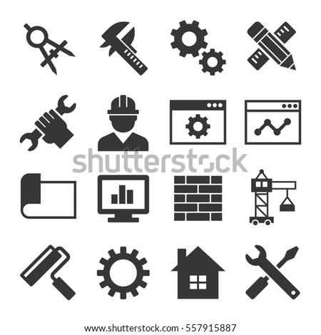 Engineering Icon Set on White Background. illustration