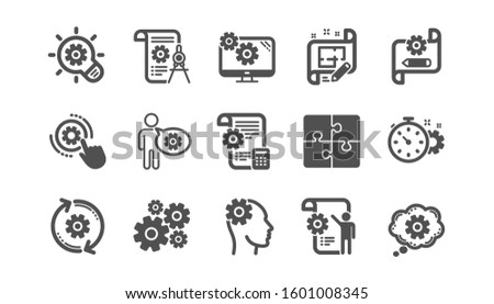 Engineering icons. Puzzle, Dividers tool and Architect plan. Engineer classic icon set. Quality set.