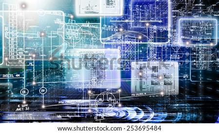 Engineering scheme industrial background.Engineering designing #253695484